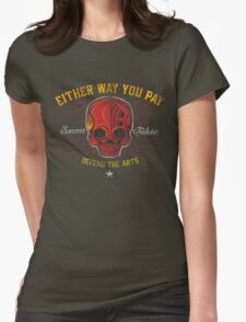 DEFEND THE ARTS RED SKULL Womens Fitted T-Shirt
