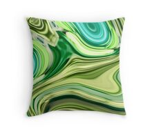 modern trendy abstract turquoise lime green swirls Throw Pillow
