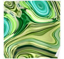 modern trendy abstract turquoise lime green swirls Poster