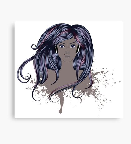 Woman with Long Hair Canvas Print