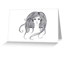 Woman with Long Hair2 Greeting Card