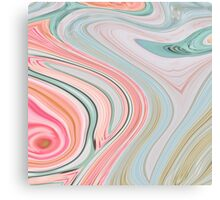 abstract marble pattern pink mint swirls cotton candy Canvas Print