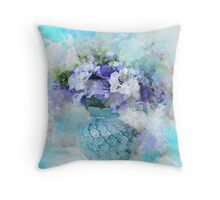 shabby chic french country blue watercolor flowers Throw Pillow