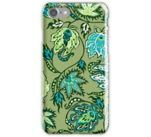 Protea Batik Hawaiian Tropical Floral - Moss, Turq & Lime iPhone Case/Skin