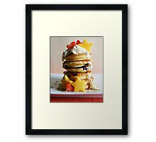 Mini Blueberry Pancakes with Mango Stars & Strawberry Hearts Framed Print