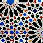 An Arabic (Moorish) tile design at the Alhambra, Andalucia,Spain  by Mal Bray