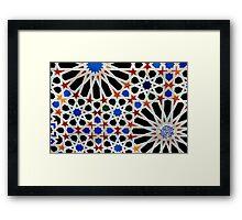 An Arabic (Moorish) tile design at the Alhambra, Andalucia,Spain  Framed Print