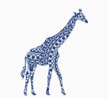 Cute Whimsy Blue Patterned Giraffe Kids Clothes