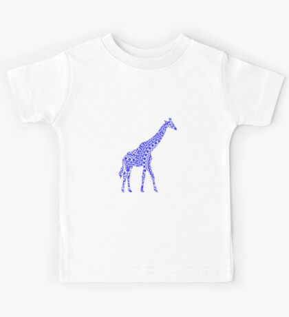 Cute Whimsy Blue Patterned Giraffe Kids Tee