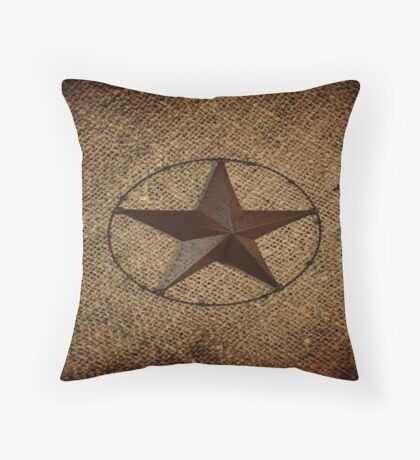 rustic western country burlap texas lone star Throw Pillow