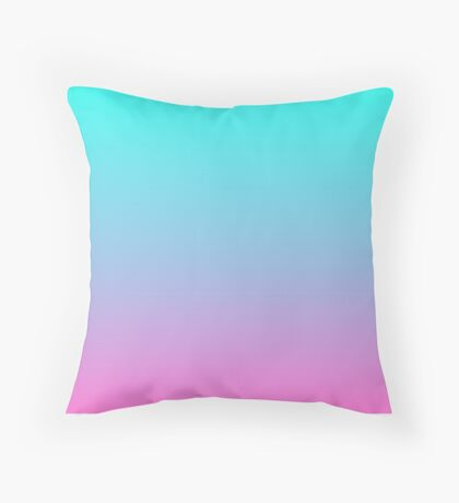 modern pastel fuchsia pink purple turquoise ombre Throw Pillow