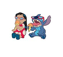 Lilo and Stitch eating Photographic Print