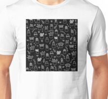 Potted Plants Pattern (White on Black) Unisex T-Shirt