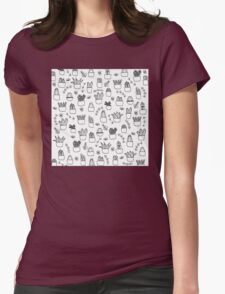 Potted Plants Pattern (Black on White) Womens Fitted T-Shirt