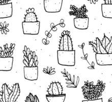Potted Plants Pattern (Black on White) Sticker