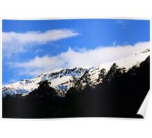 Clouds over mountain. Poster