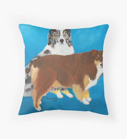 My Buddies ~ Australian Shepherd ~ Oil Painting Throw Pillow