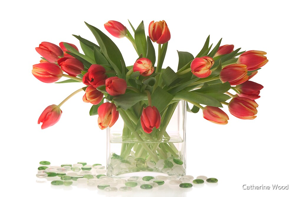 Flower Arrangement with Red Tulips by Catherine Wood