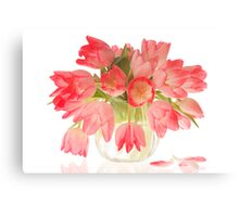 Pink Tulips in Vase Canvas Print