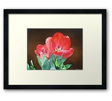 Tulips - Red Silk Framed Print