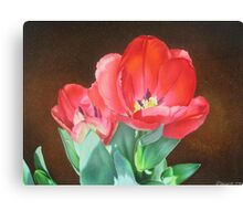 Tulips - Red Silk Canvas Print