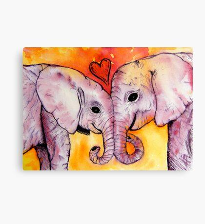 Elephants in Love Canvas Print