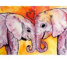 Elephants in Love Photographic Print