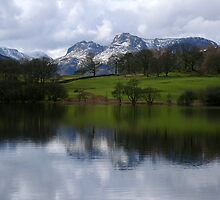 The Langdale Pikes from Loughrigg Tarn by mikebov
