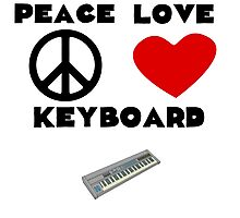 Peace Love Keyboard Photographic Print