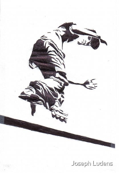 Skater Inliner Rollerblader Drawing Pen by Joseph Ludens