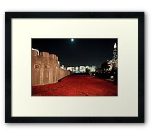 Poppies at the Tower of London - At Night with the Shard. Framed Print