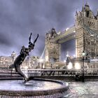 Tower Bridge and Fountain in London at Night by Chad Kruger