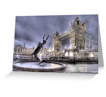 Tower Bridge and Fountain in London at Night Greeting Card