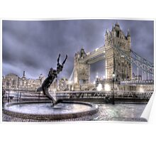 Tower Bridge and Fountain in London at Night Poster