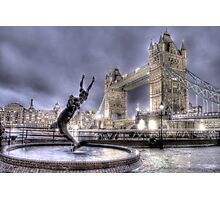 Tower Bridge and Fountain in London at Night Photographic Print