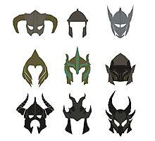 skyrim: minimalist helmets Photographic Print