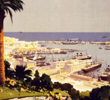 Genoa and the Italian Rivera Vintage Poster Restored Sticker
