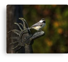 Bird on Sculpture Canvas Print