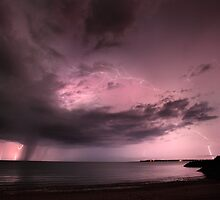 Cullen Bay Beach Lightning by Andrew Brooks