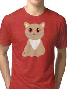 One and Only One Tan Kitty Tri-blend T-Shirt