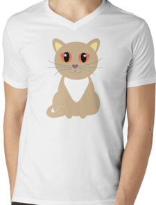One and Only One Tan Kitty Mens V-Neck T-Shirt