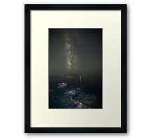 Milky way at a rocky sea coast in Syros island, Greece Framed Print