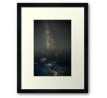 Milky way at a rocky sea coast in Syros island, Greece Framed Print