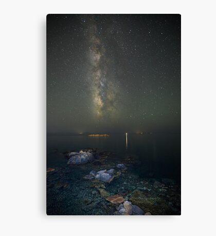 Milky way at a rocky sea coast in Syros island, Greece Canvas Print