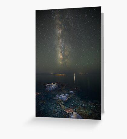 Milky way at a rocky sea coast in Syros island, Greece Greeting Card