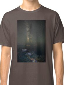 Milky way at a rocky sea coast in Syros island, Greece Classic T-Shirt