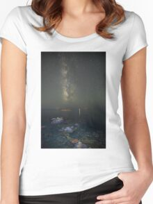Milky way at a rocky sea coast in Syros island, Greece Women's Fitted Scoop T-Shirt