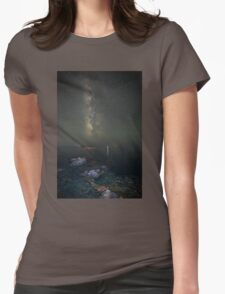 Milky way at a rocky sea coast in Syros island, Greece Womens Fitted T-Shirt