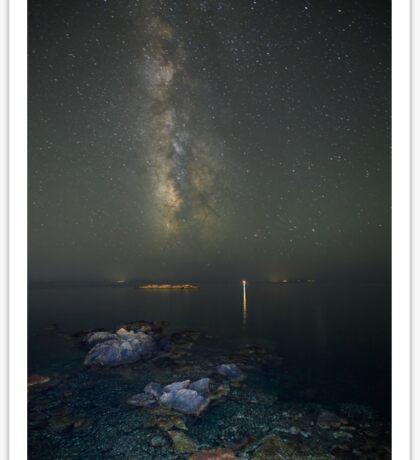 Milky way at a rocky sea coast in Syros island, Greece Sticker