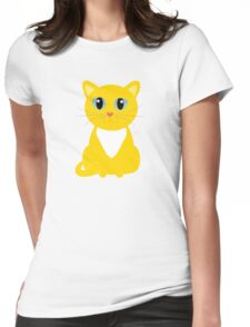 Only One Yellow Kitty Womens Fitted T-Shirt